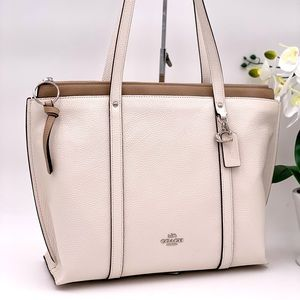 Coach Leather May Tote Shoulder Bag white
